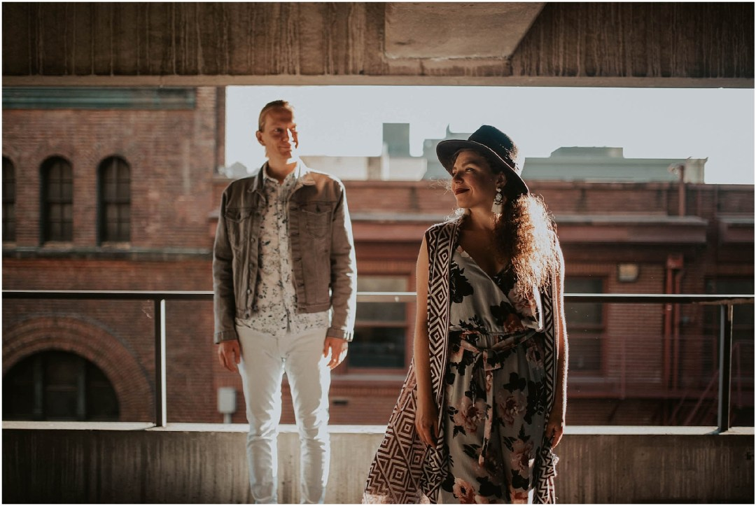 engaged, engagement-photography, engagement-photos, downtown-seattle, seattle-engagement- seattle-wedding-photographer, parking-garage, rooftop-photos, engagement-inspo, sunset-session,
