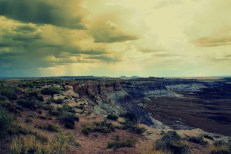 A thunderstorm rolls in the Painted Desert in the Petrified Forest National Monument in Arizona. Photo/Kendra Yost