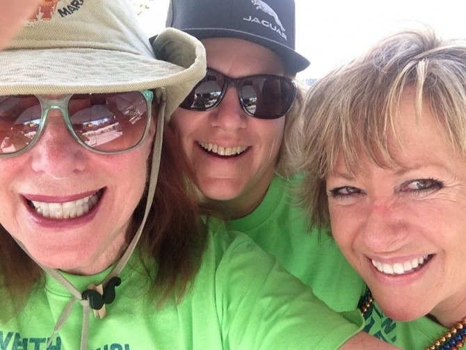 Bobbie (left) with my mom (center) and their friend Cynde at a charity walk earlier this year.