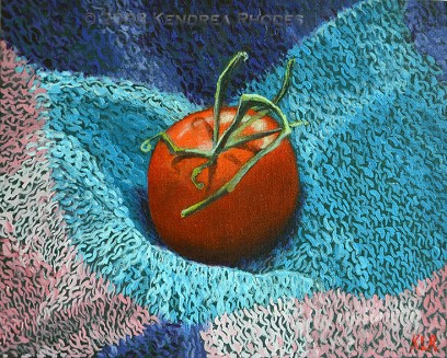 A yarn on fruit bombing - oil on board © 2009 Kendrea Rhodes all rights reserved www.kendreart.com