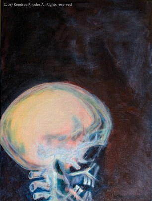 Skull X-ray oil painting using predominantly cadmium red and pthalo blue ©2017 Kendrea Rhodes