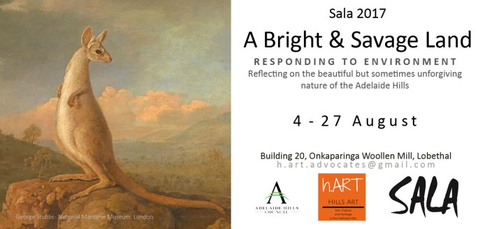 2017 SALA Hills Art (hART) exhibition invitation to 'A Bright and Savage Lands' — DL size