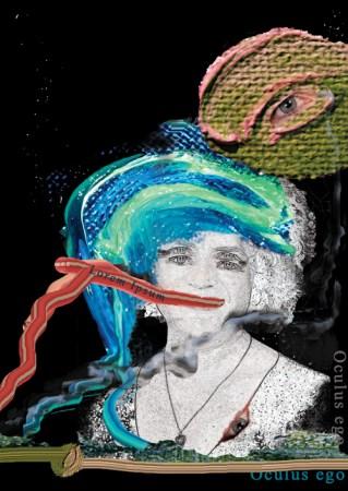 Identity Dilemma. Eye am I. Self Portrait, Kendrea Rhodes original mixed media art.