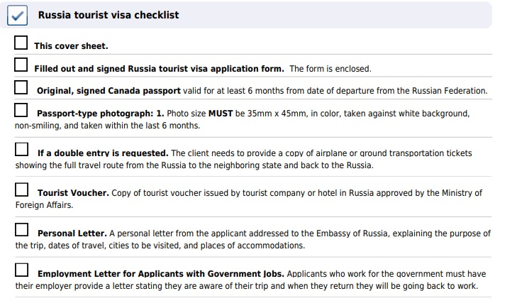 Russia Visa For Canadians