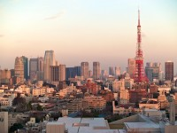 view of central tokyo from roppongi hills, with tokyo tower