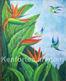 Bird of paradise - kavitha art student - kenfortes art class jp nagar