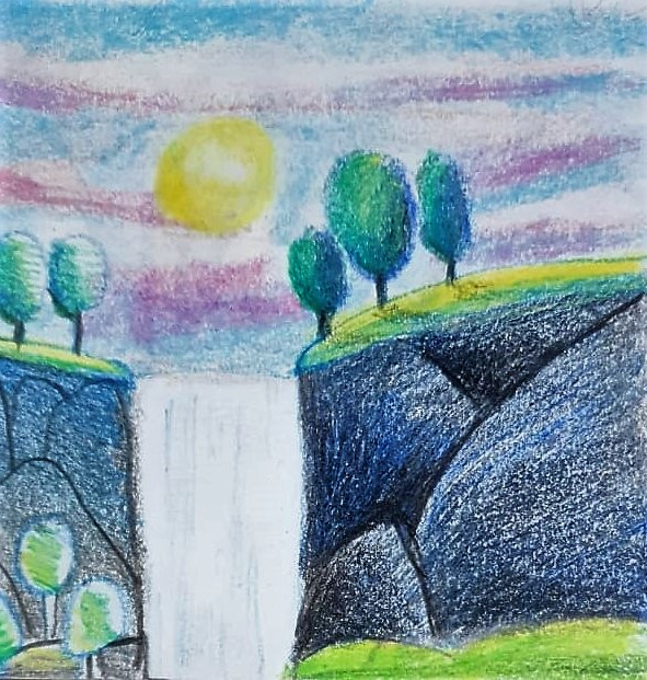 2 HOW TO DRAW SIMPLE WATER FALLS SCENERY IN STEPS - kenfortes children online arts classes structured drawing lessons