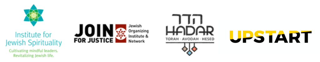 Logos for Join for Justice, Upstart, Institute for Jewish Spirituality, and Mechon Hadar