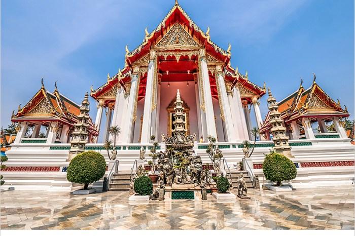 泰國曼谷蘇泰寺 Wat Suthat   泰國一級王室寺廟,曼谷紅色大鞦韆,來曼谷不能錯過的打卡聖地。
