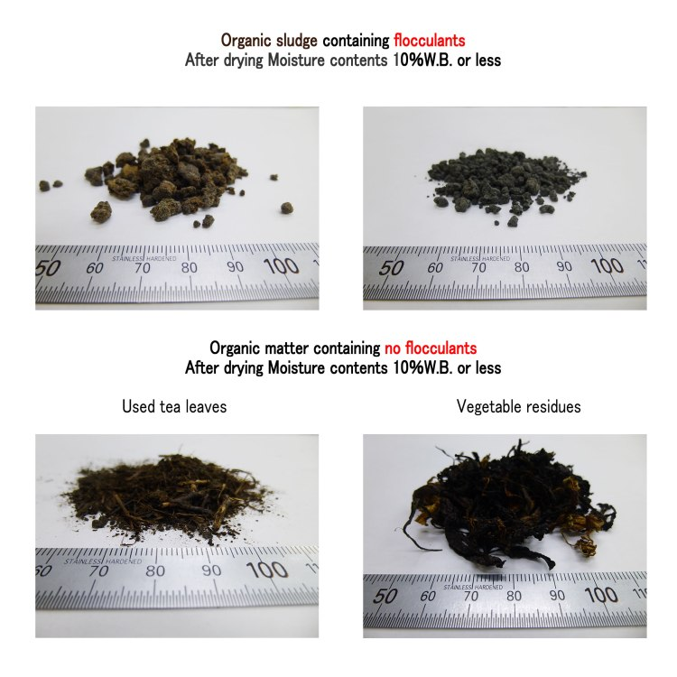 comparison organic sludge & matter drying containing flocculants 10.11.2017