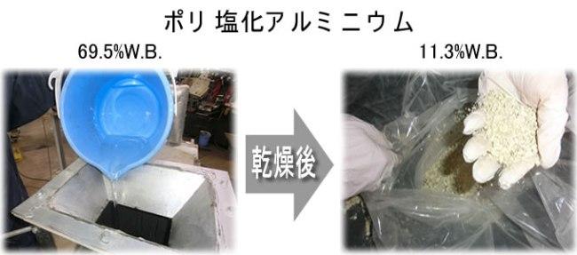 ポリ塩化アルミニウム 乾燥前、乾燥後