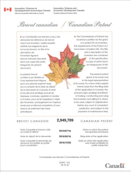 カナダ 特許証 KENKI DRYER 2019.10.12