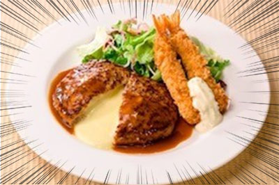「チーズINハンバーグ&海老フライ」(通常799円→699円)