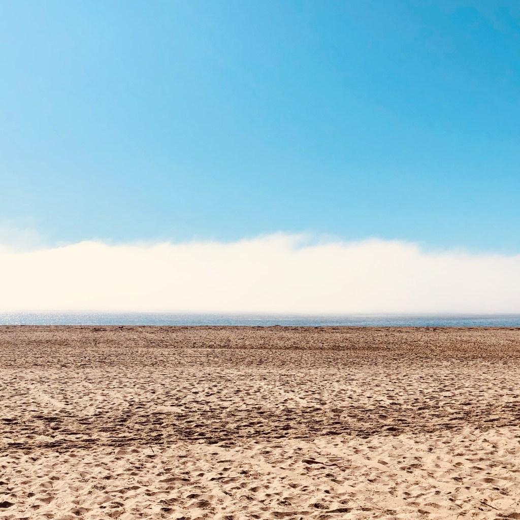 Pacific Ocean with Fog Bank. Leadbetter Beach, Santa Barbara, CA