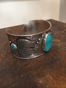 Custom designed South Western style cuff, with turquoise and custom finishing