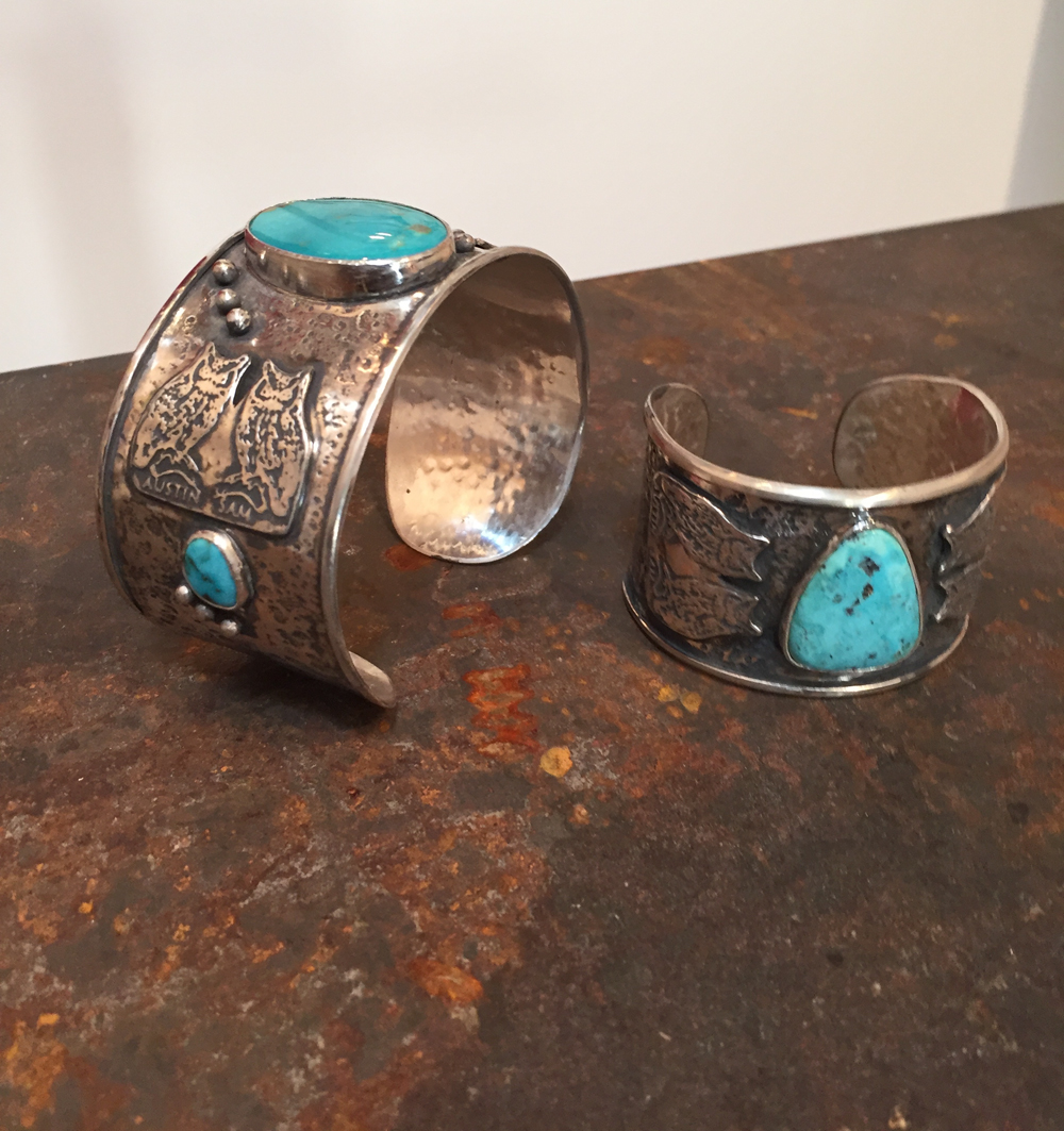 Custom Western styled cuffs, with toruquoise