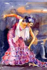 flamenco dancer swings into movement