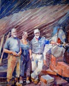watercolour painting of people restoring 1942 boat