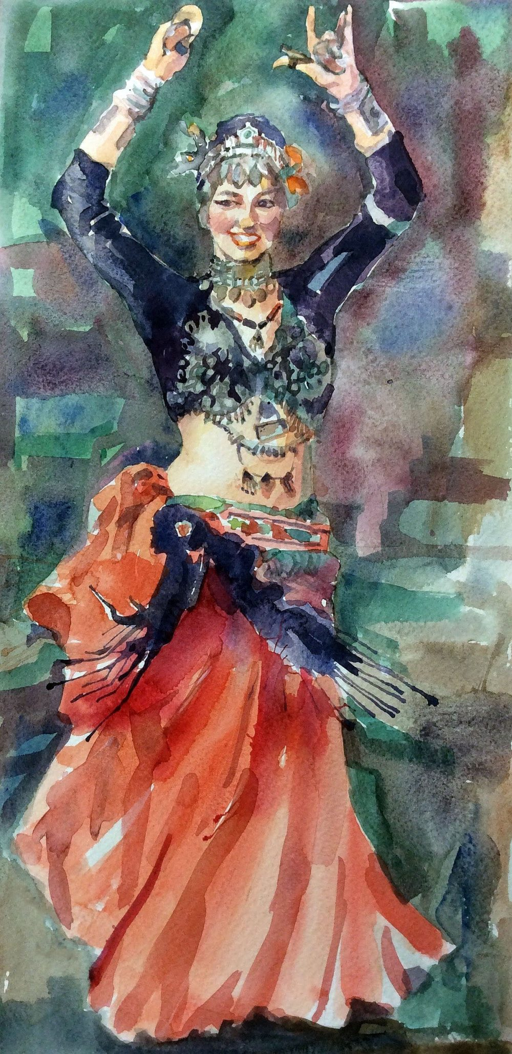 Tribal dancer in watercolour