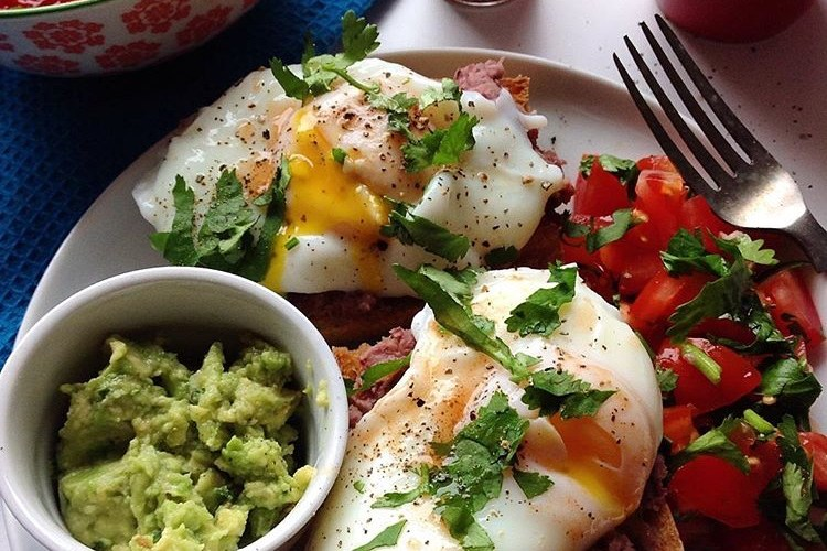Grilled Sourdough with Refried Beans Soft Poached Eggs Pico de Gallo and Guacamole