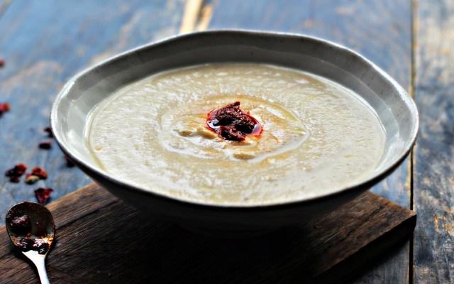 Cauliflower, Almond & Lemon Za'atar Soup with Rose Harissa