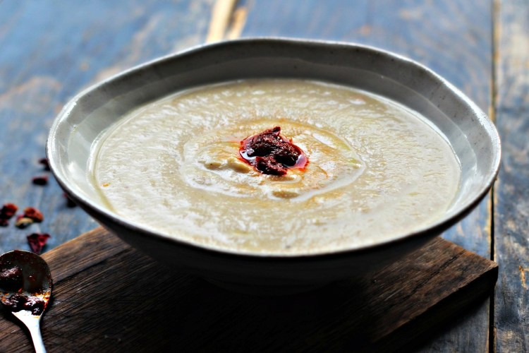 Cauliflower, Almond & Lemon Za'atar Soup with Rose Harissa