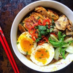 Easy Ramen with Chicken, Pak Choi and Soft Boiled Egg