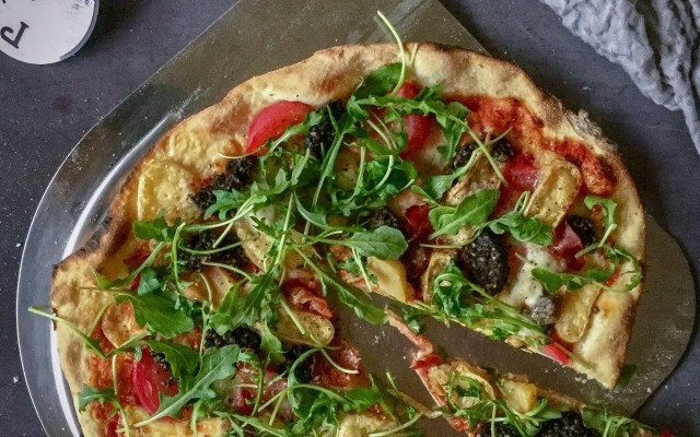 Clonakilty Black Pudding, Poached Beetroot, Durrus Cheese and Rocket Pizza.