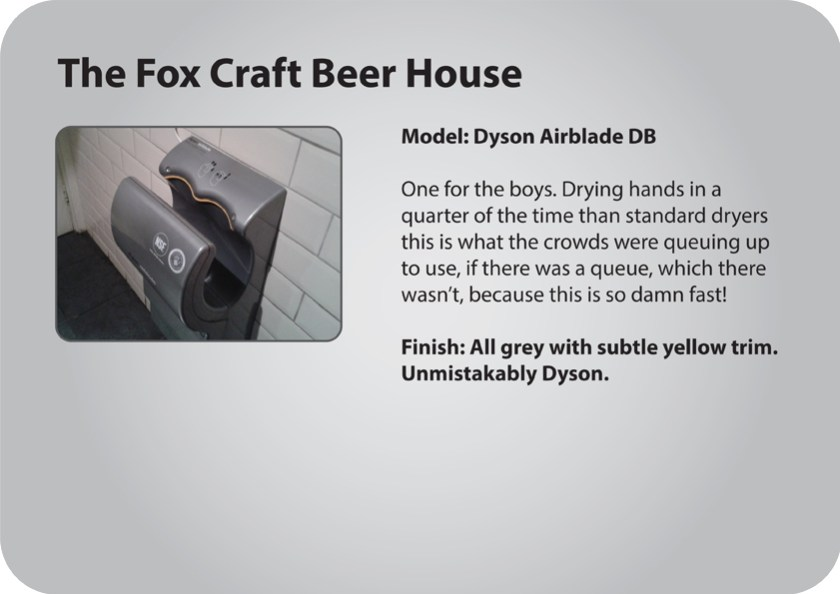 The Fox Craft Beer House gents hand dryer review