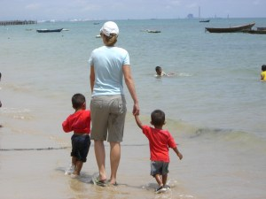 Playing at the beach in Thailand with children from the Mercy Center Children's Shelter