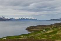 Eyjafjörður nära Akureyri i mitten av juli.