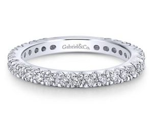 Gabriel2 - 14k White Gold Round Straight Wedding Band