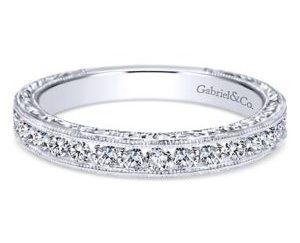 Gabriel3 - Vintage 14k White Gold Round Straight Wedding Band