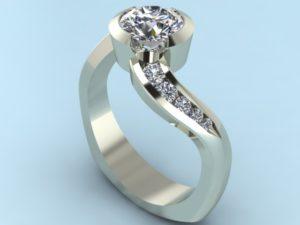 Half Bezel Swirl Ring