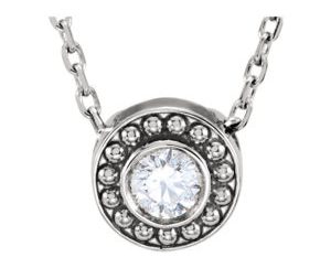 Stull1 - 14K White Gold Round Beaded Slide Pendant