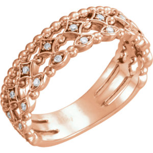 sts123124 - 14K Rose Gold Three Row Stackable Ring