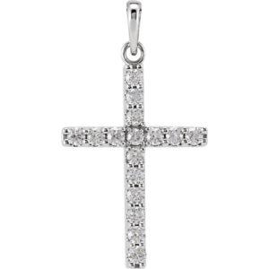 stsr42308front - 14k White Gold 1/2 CT Diamond Cross