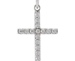 stsr42308front - 14k White Gold 1/2 CT Diamond Cross