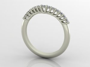 Shared-Prong Curved Wedding Band