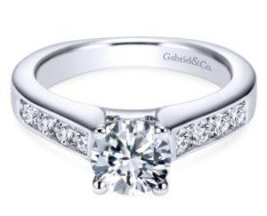 ER3962W44JJ 1 - 14K White Gold Round Straight Engagement Ring