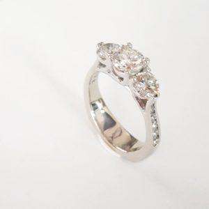 Three Stone Channel Set Ring