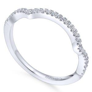 WB7543W44JJ 3 - 14K White Gold Round Curved Wedding Band