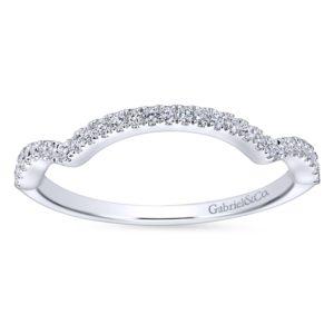 WB7543W44JJ 5 - 14K White Gold Round Curved Wedding Band