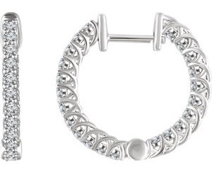 652854wg - 1ct Diamond Hoop Earrings