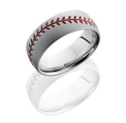 CC8DBASEBALLA - Cobalt Chrome 8mm Domed Band with Baseball Pattern and Antiquing