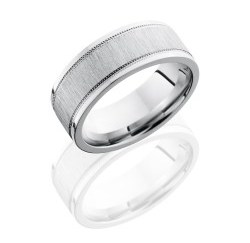 CC8FEC2WUMIL - Cobalt Chrome 8mm Flat Band with Elevated Center and Milgrain