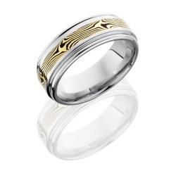 CC8REF13 M18KYSH - Cobalt Chrome 8mm Flat Band with Rounded Edges and 3mm 18K Yellow Gold and Shakudo Mokume inlay
