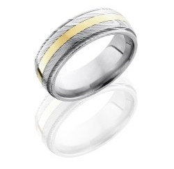 D8DGE12 14KY - Damascus Steel 8mm Domed Band with Grooved Edges and 2mm 14K Yellow Gold inlay