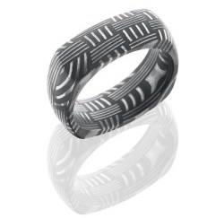 D8DSQBASKET - Damascus Steel 8mm Domed EuroSquare Band in Basket Pattern