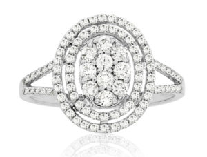 WC6212D - Oval Double Halo Cluster Ring